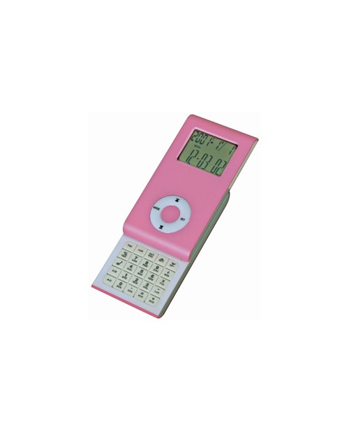 Калькулятор раздвижной с календарем и часами, розовый, 9,6х5х1,4 см, пластик, тампопечать