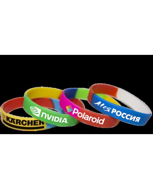 Сегментированные силиконовые браслеты с логотипом (круговая шелкография)