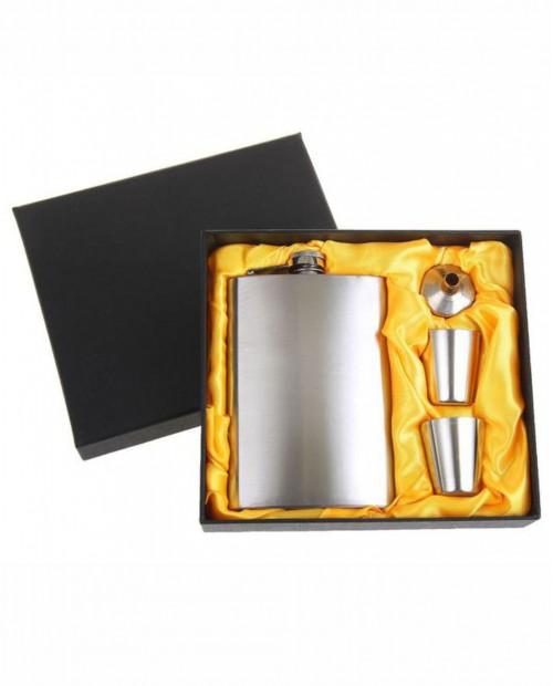 """Подарочный набор 4 в 1 """"Металлик"""": фляжка 240 мл + 2 рюмки, воронка,лазерная гравировка"""